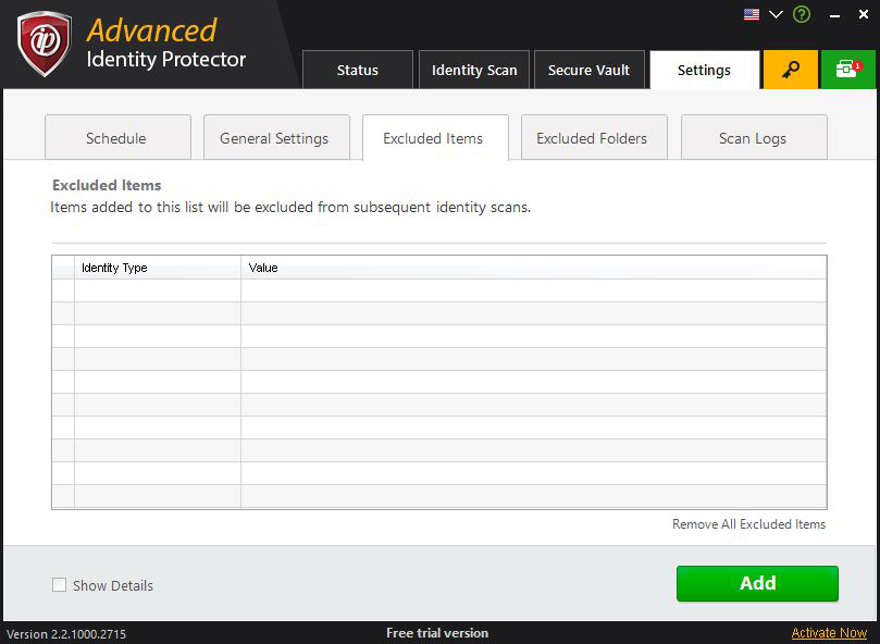 how to delete advanced identity protector