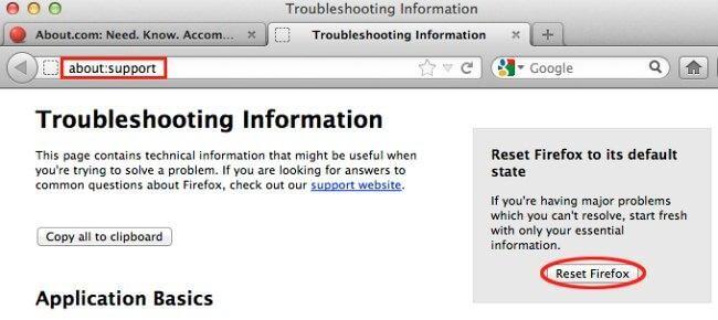 Restore Google Chrome settings