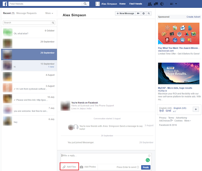 send files on facebook