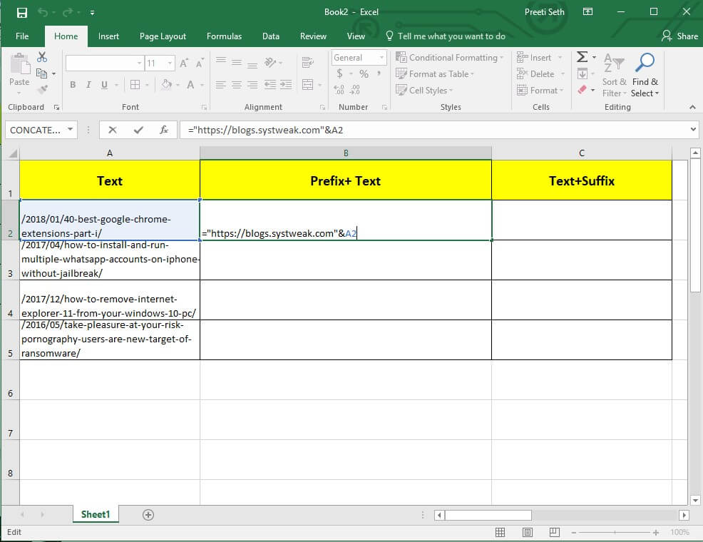 how to add value to text in excel