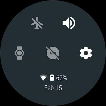 Access quick settings android Wear Smartwatch