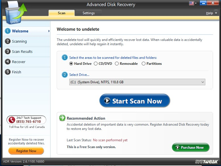 Advanced disk recovery scan