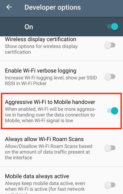 Aggressive Wi-Fi to Mobile data handover'.