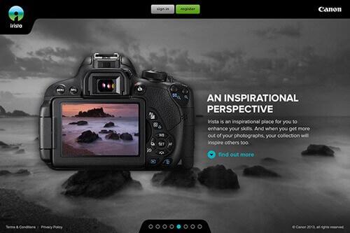 Canon Irista-photo sharing webistes for photographers