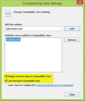 Compatability view
