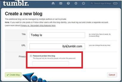 Create Private Blog button