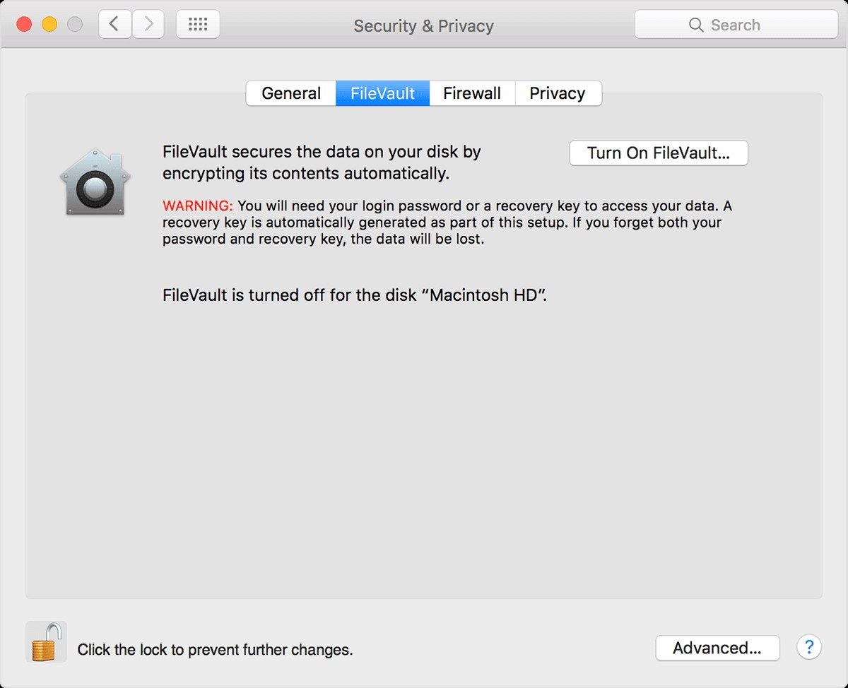 Disable FileVault Disk Encryption