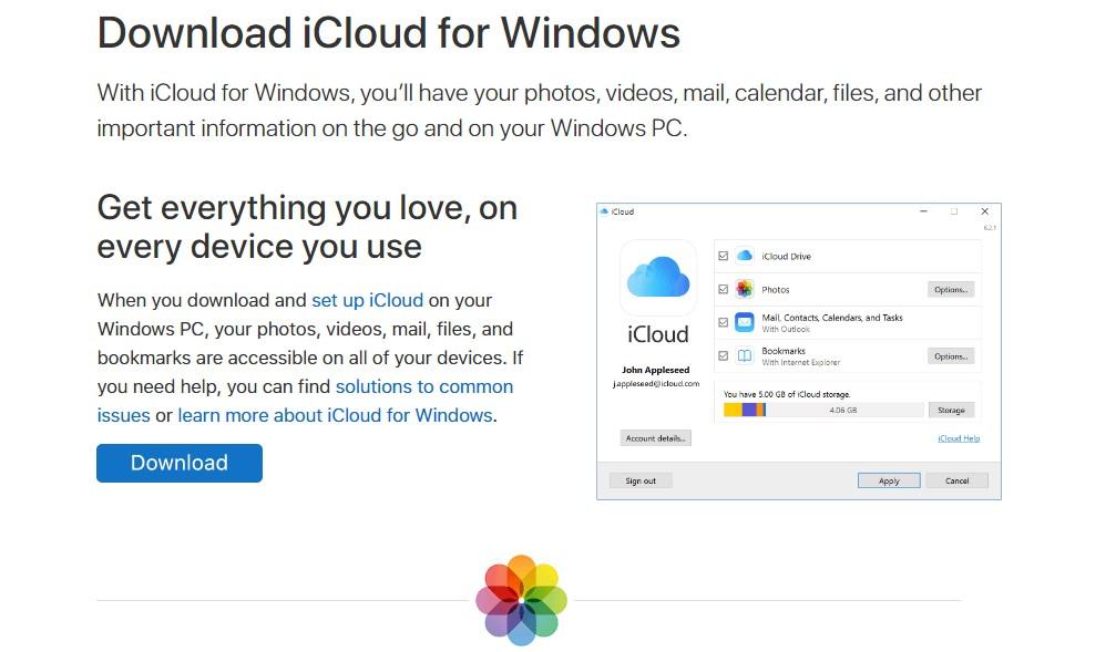 Download iCloud for windows
