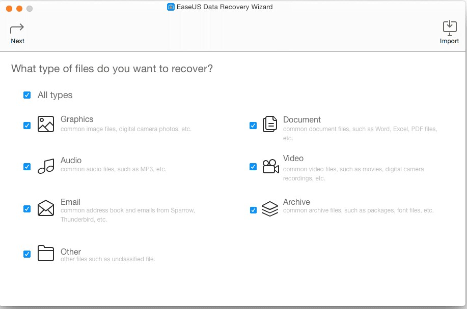 Ease US data recovery wizard