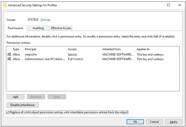 Edit the Registry