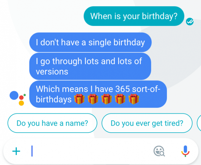 Google assistant When is your birthday