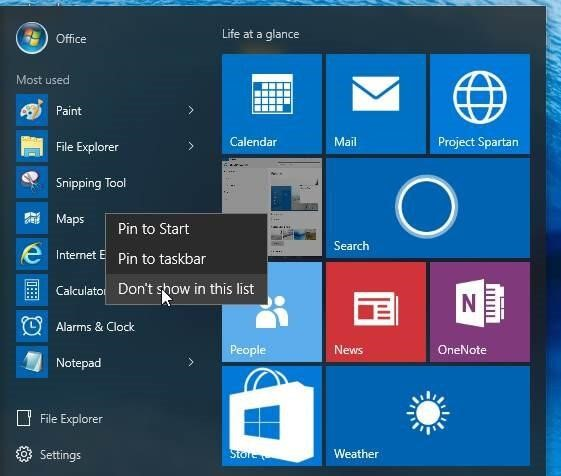Most used apps in windows 10