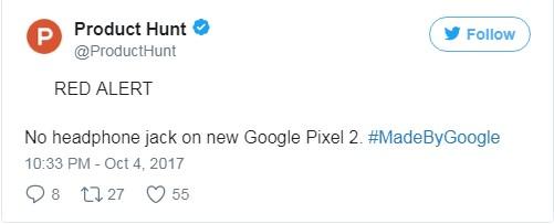 Product hunt tweet