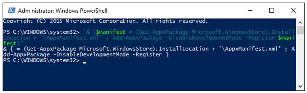 Re-register the Windows Store