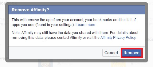 Remove affimity from facebook