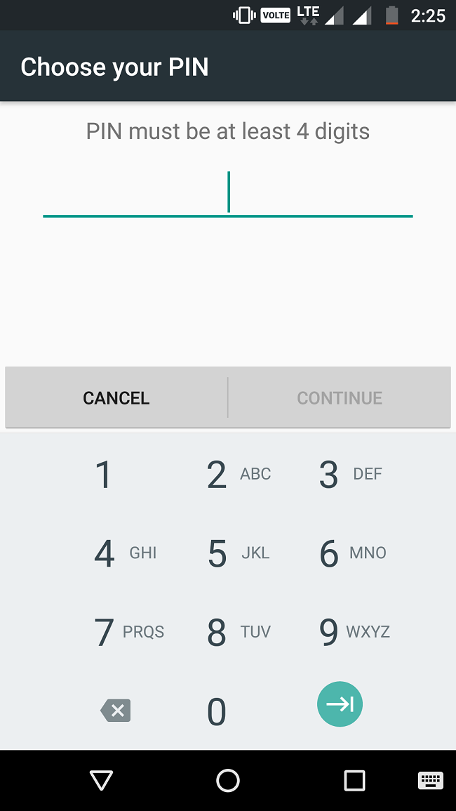 4 Digit Pin Lock in android