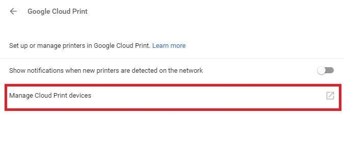 Setting up Google Cloud Print