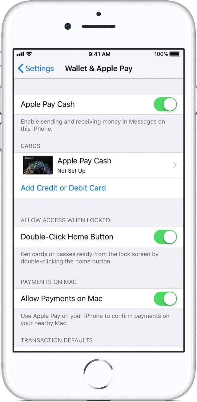 Setup apple play cash