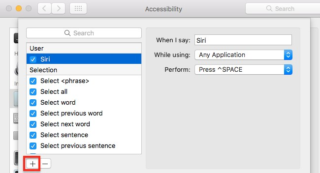 Siri Dictation Command