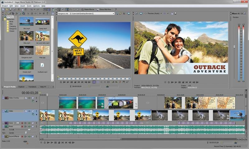 Sony Vegas Movie Studio- best video editing software windows