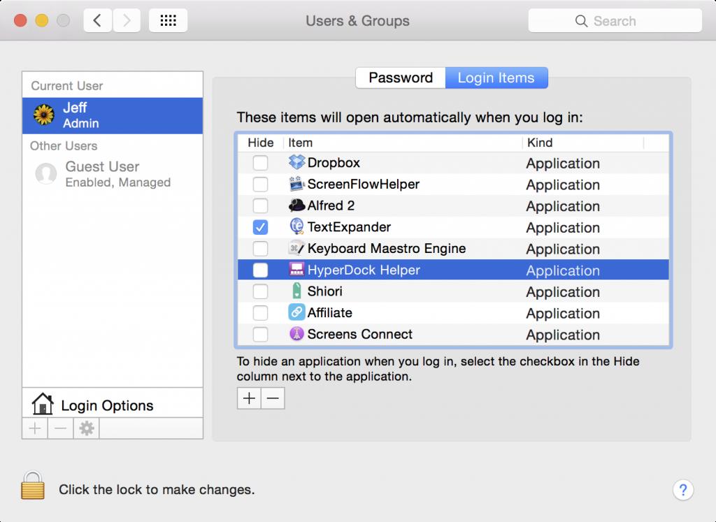 startup programs on mac