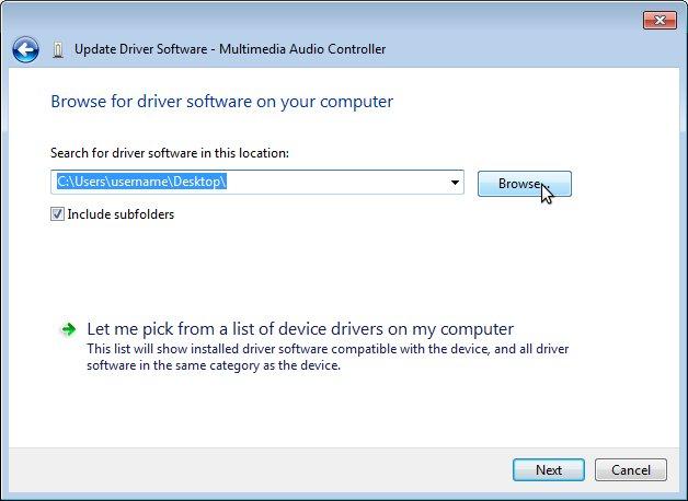 Update driver in windows 7