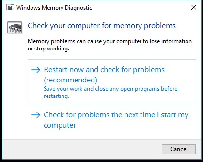 Windows Memory Diagnostic run dialog box