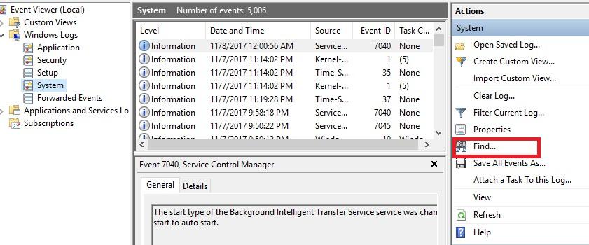 Windows logs system