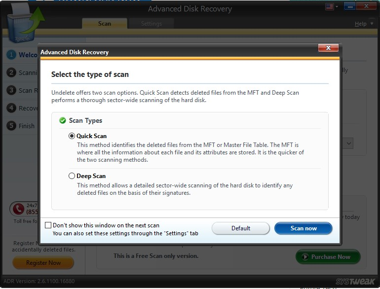 advanced disk recovery select scan