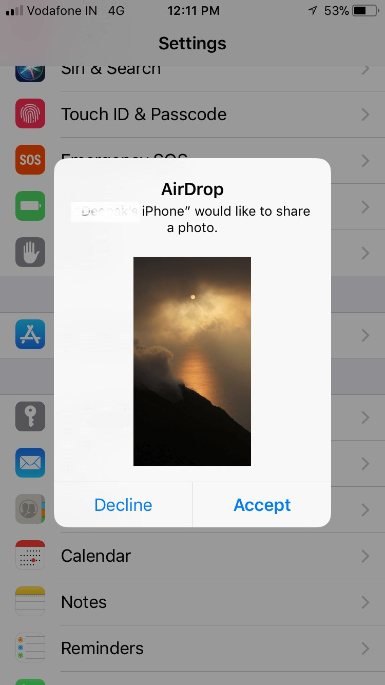airdrop accept notification
