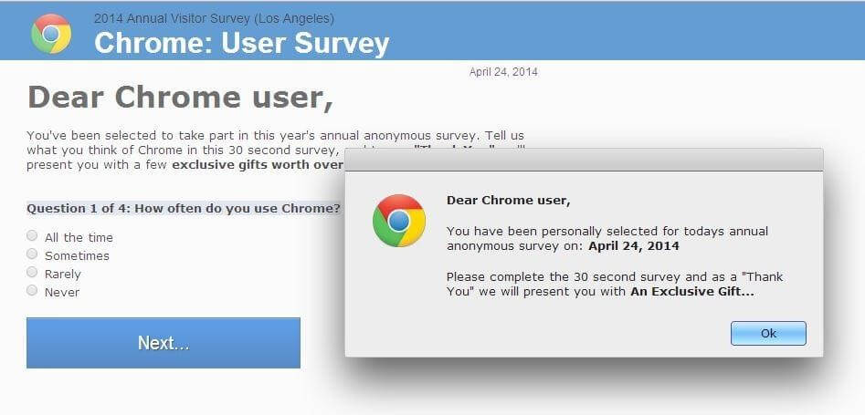 chrome survey scam popup