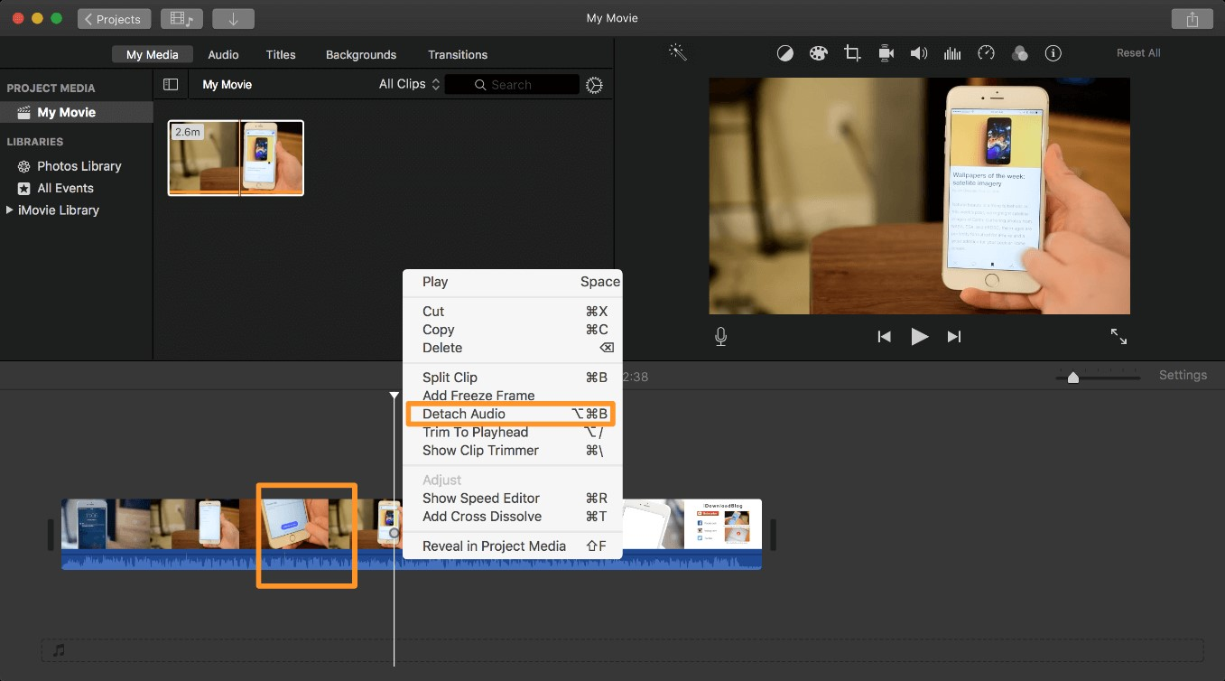 detach audio option imovie