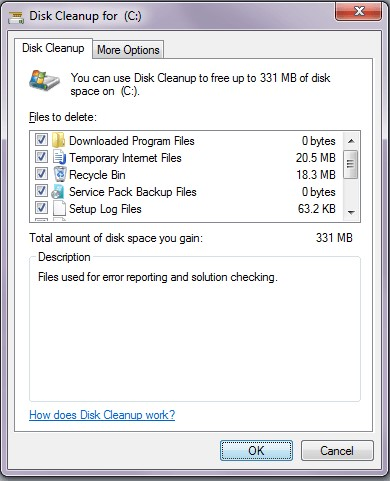 disk cleanup option
