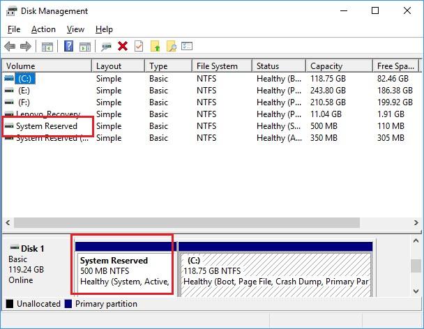 disk management system reserved