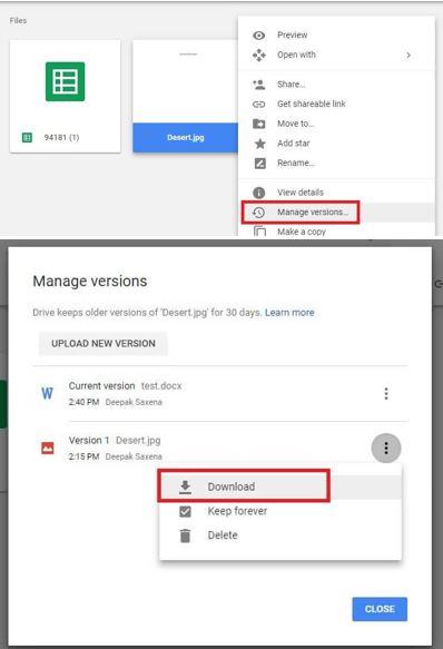 download previous file google drive