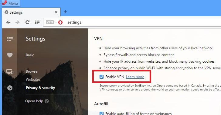 enable opera VPN