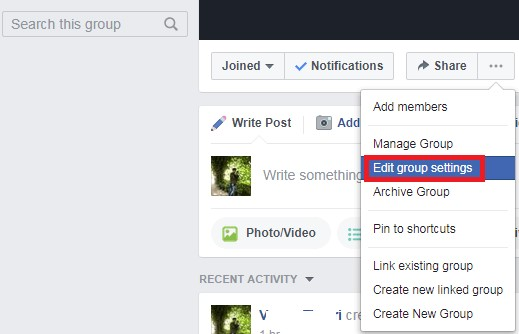 facebook edit group settings