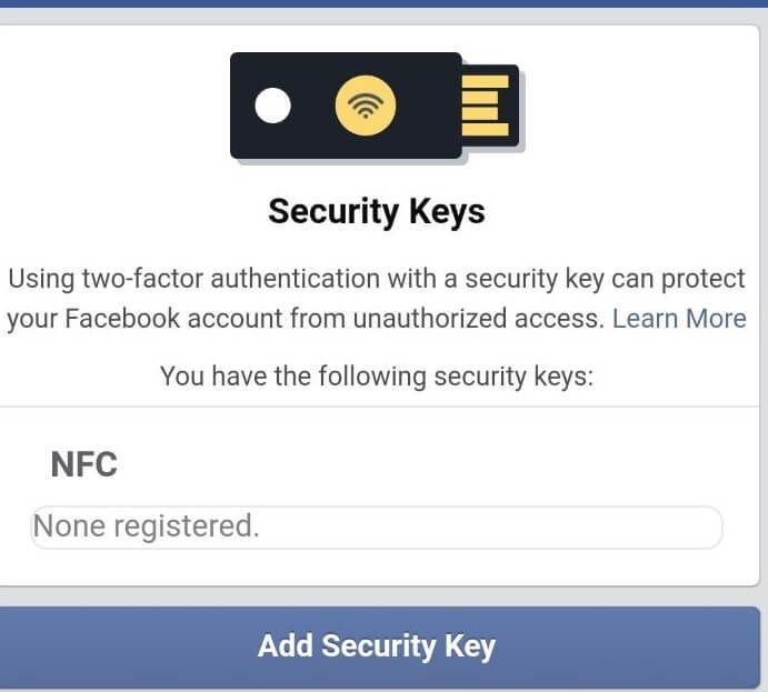 facebook security key