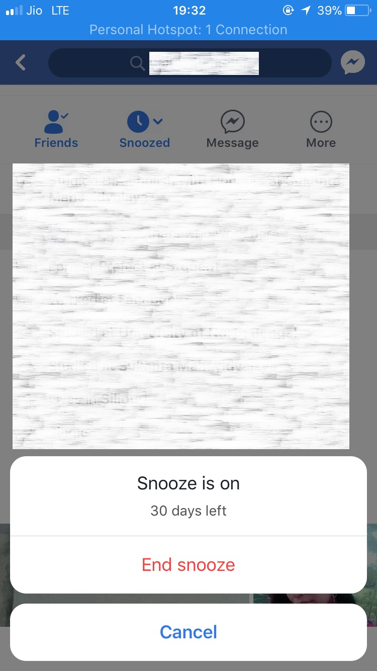 facebook snooze on