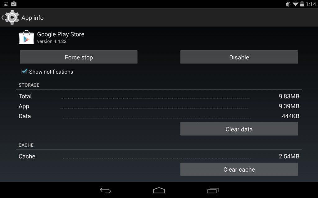 google play store app cache