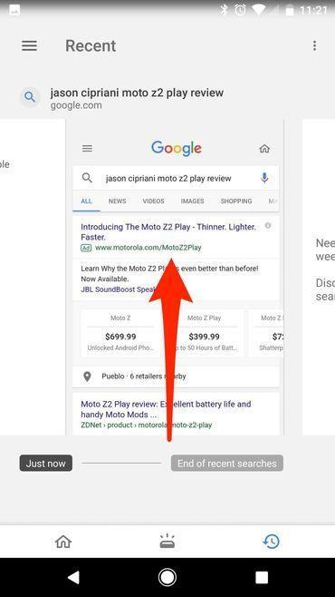 google saves screenshot