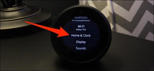 home and clock option echo spot