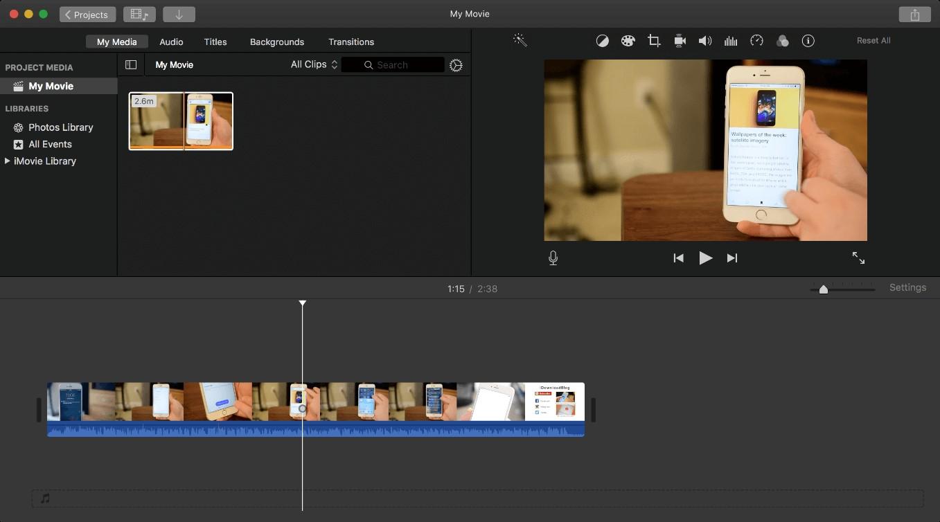 imovie timeline video