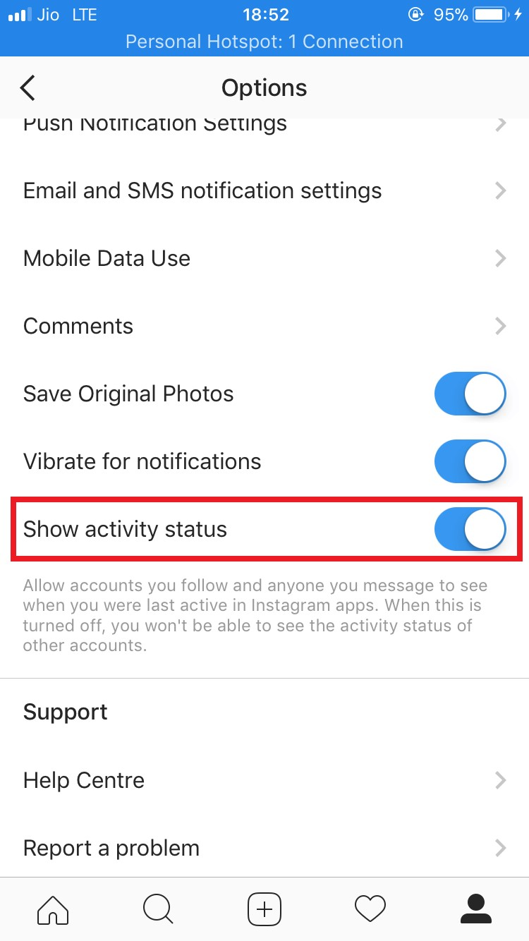 instagram activity status
