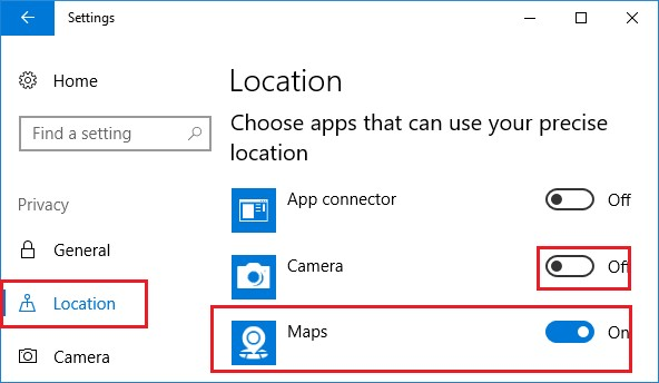 location maps windows 10