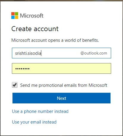 microsoft account next