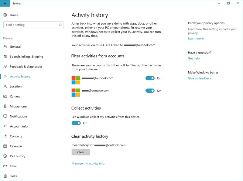 microsoft activity history