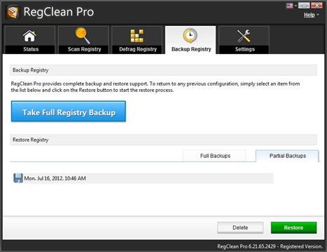 restore files - registry errors in windows are fixed