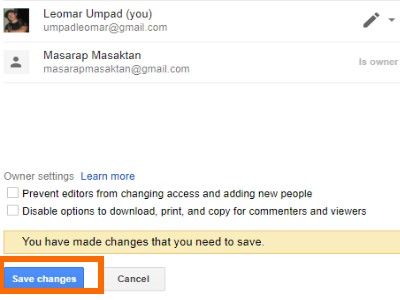 save changes in google drive
