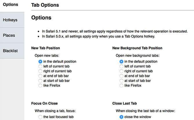 tab option